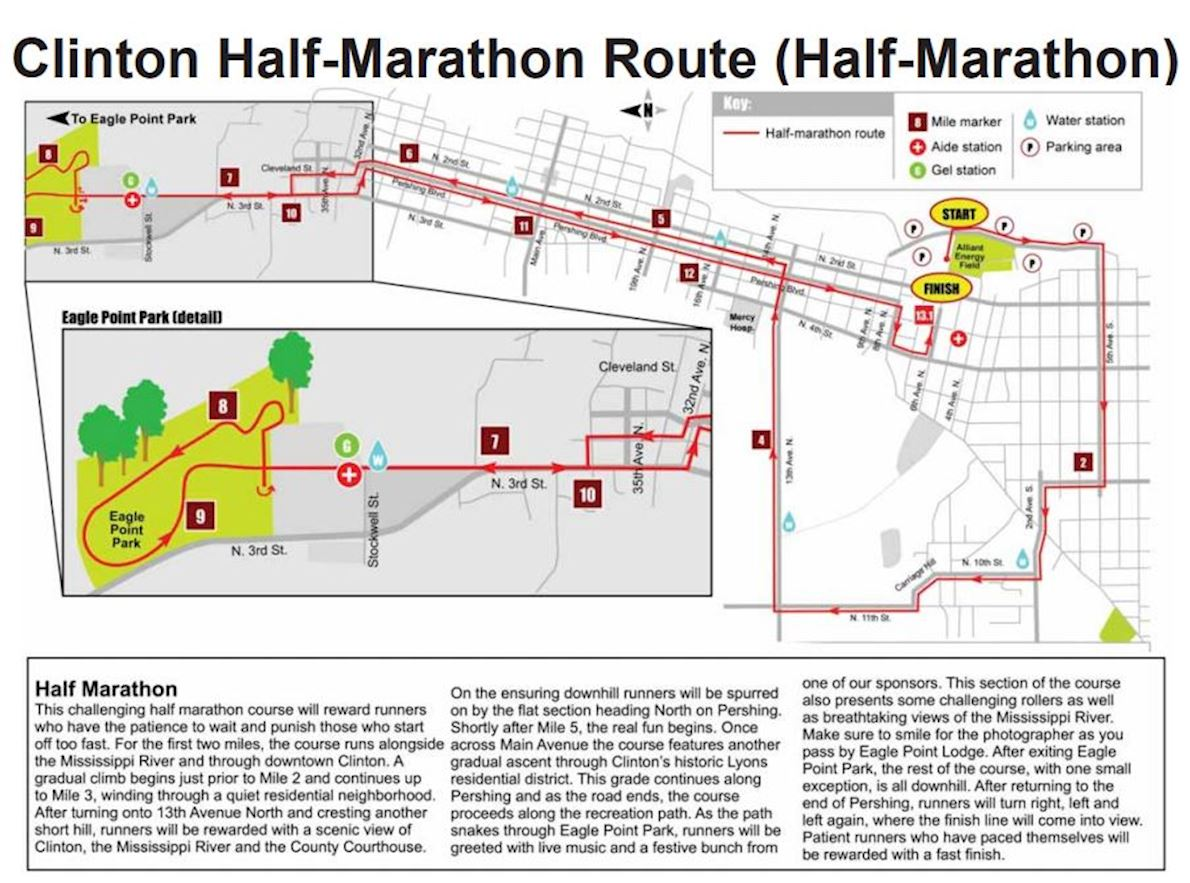 Clinton Half Marathon Mappa del percorso