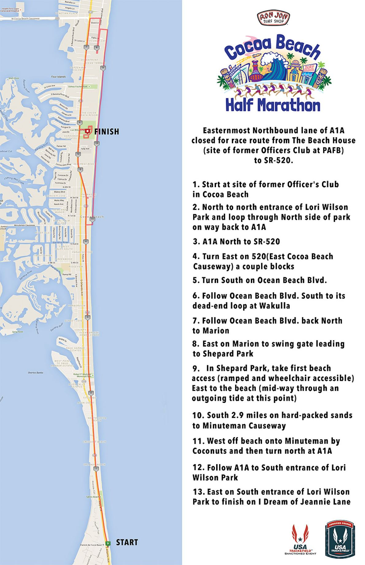 Cocoa Beach Half Marathon MAPA DEL RECORRIDO DE