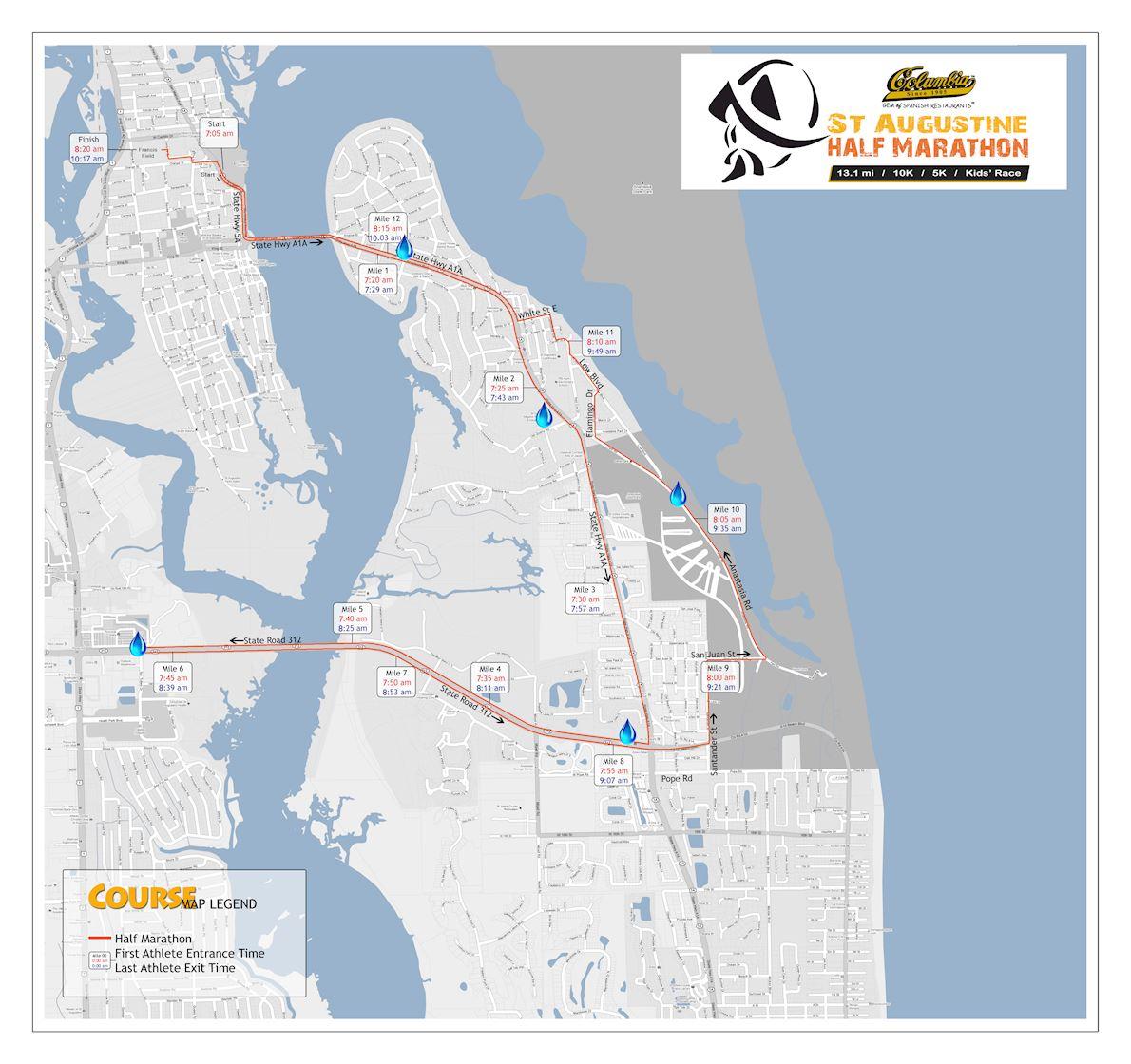 St. Augustine Half Marathon Route Map