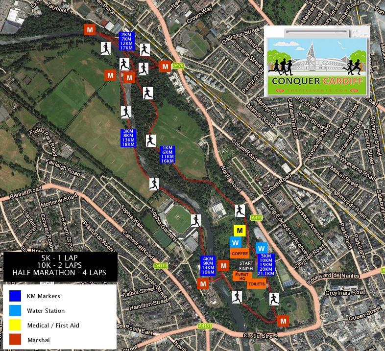 Conquer Cardiff Summer 5k 10k 15k and Half Marathon Route Map