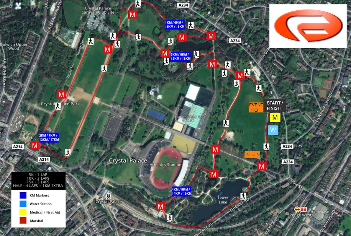 Conquer Crystal Palace Autumn 5k 10k 15k and Half Marathon Route Map