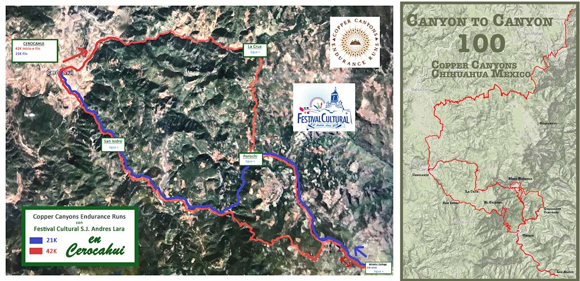 Copper Canyons Endurance Runs Route Map
