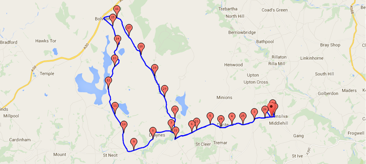 Cornish Marathon And Fun Run Route Map