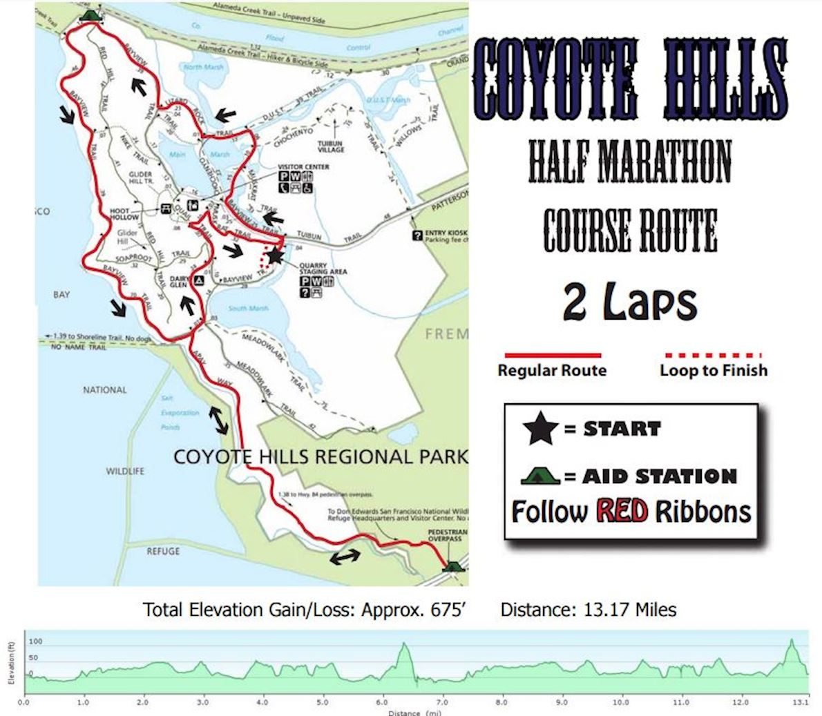 Coyote Hills Half Marathon/10k/5K Mappa del percorso