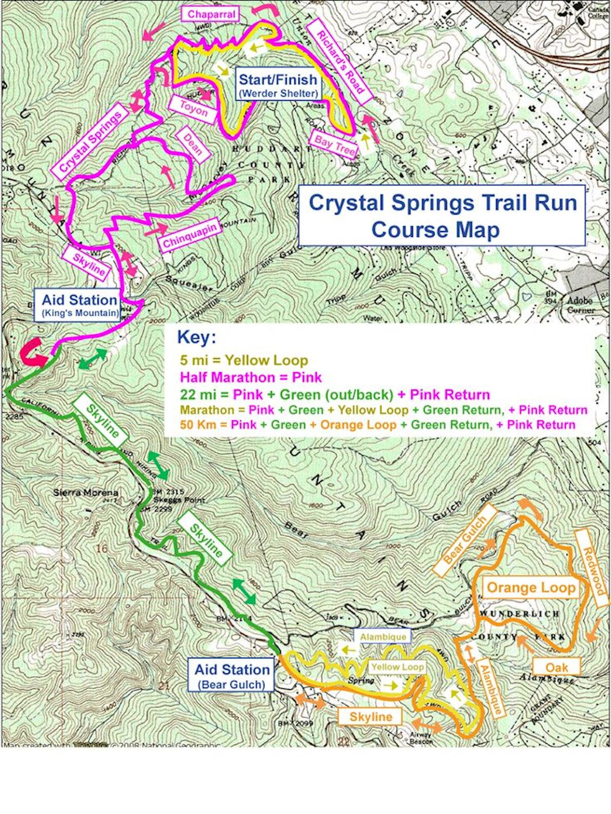 Crystal Springs (Winter) Trail Run MAPA DEL RECORRIDO DE