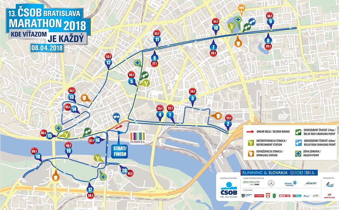 Bratislava Marathon MAPA DEL RECORRIDO DE