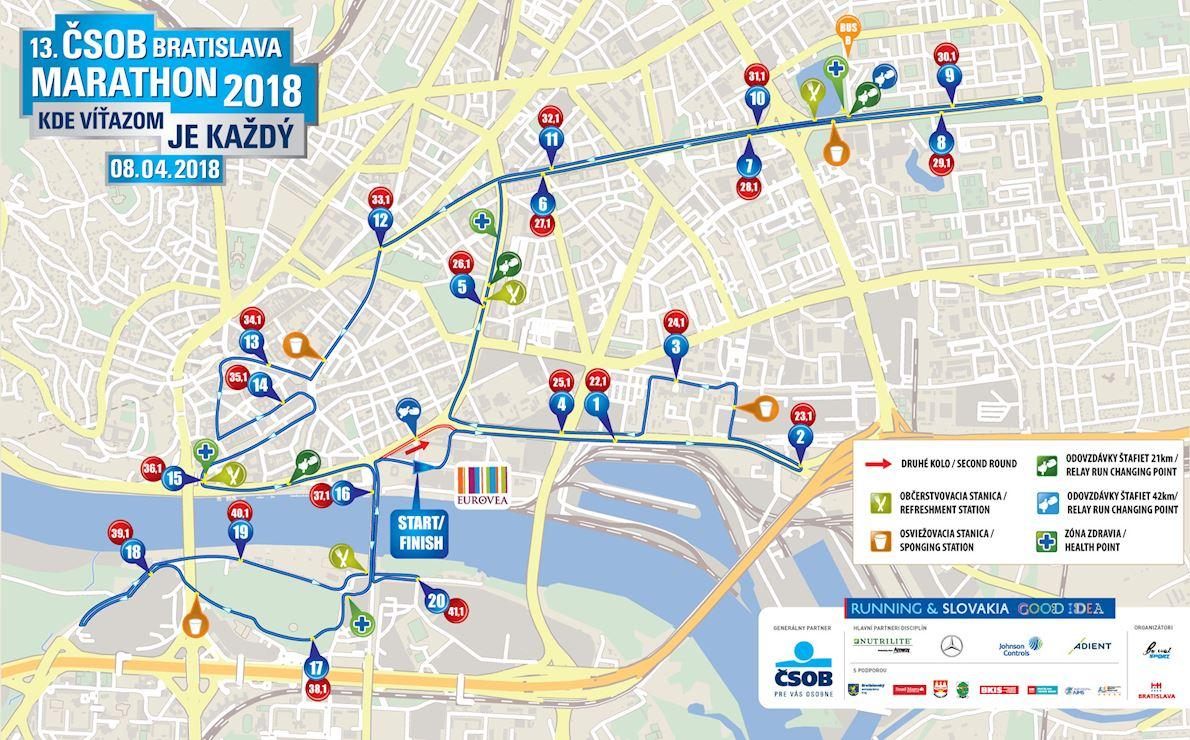 CSOB Bratislava Marathon MAPA DEL RECORRIDO DE