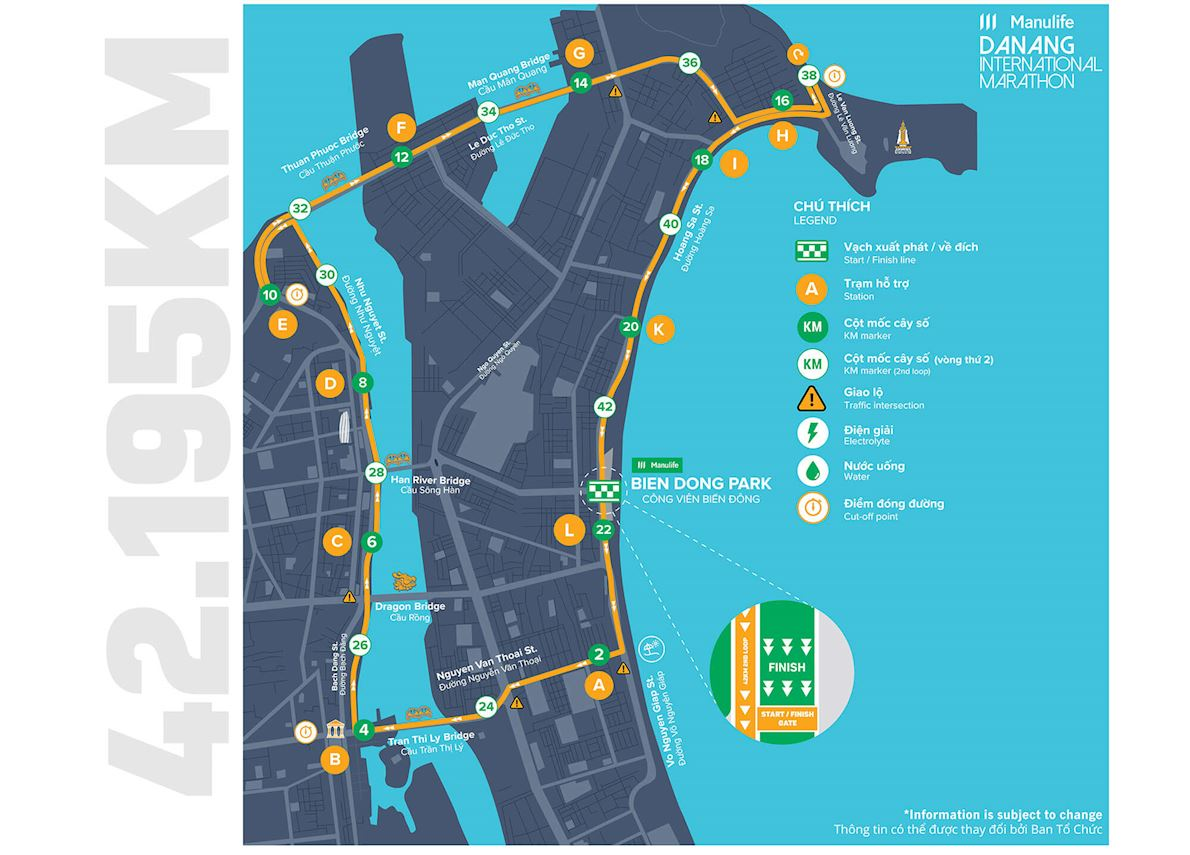 Manuife Danang International Marathon Route Map