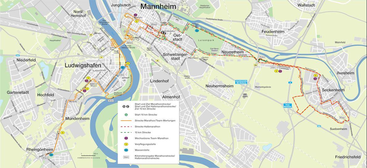 SRH Dämmer Marathon Mannheim Mappa del percorso