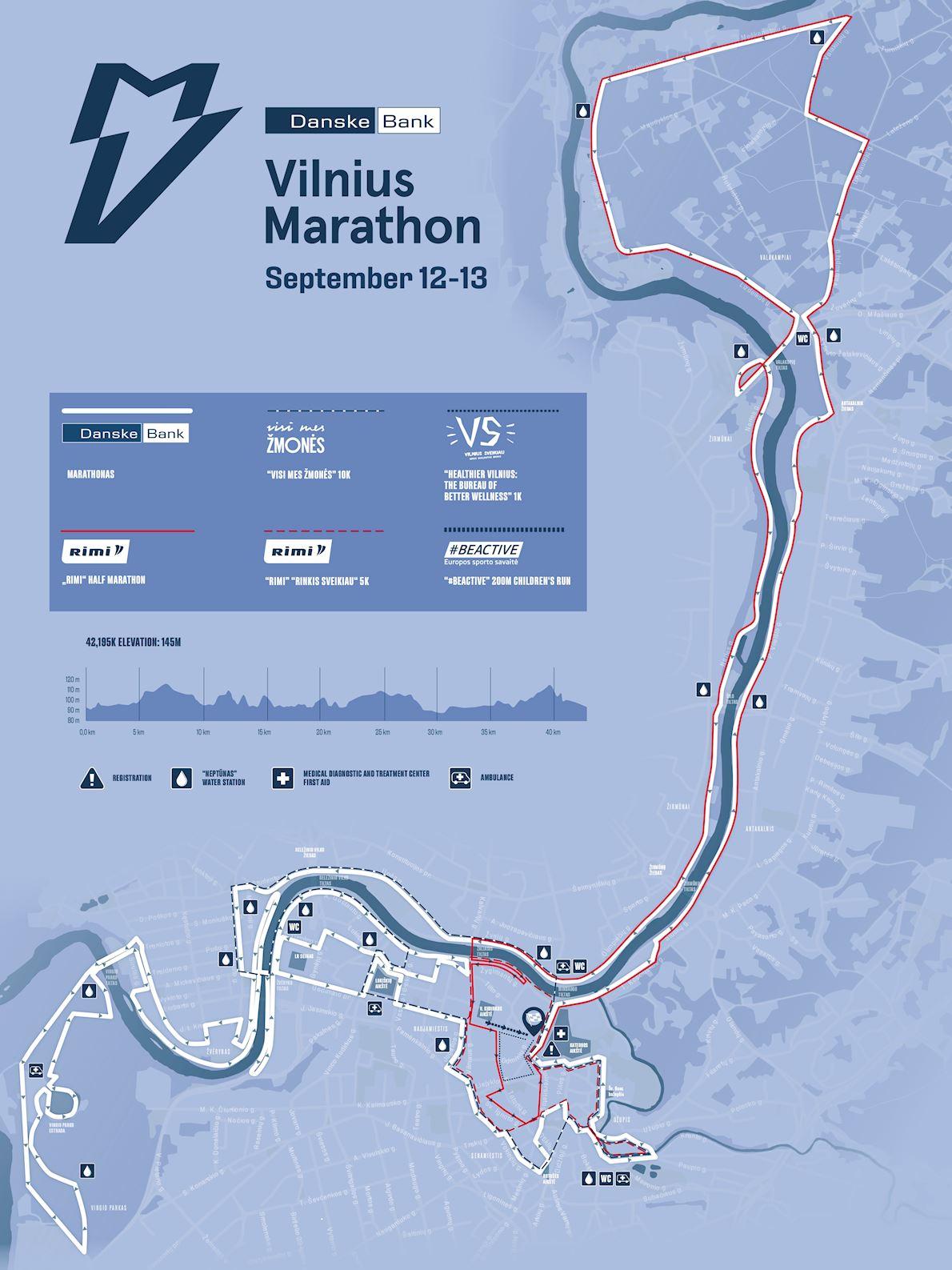 Danske Bank Vilnius Marathon Route Map
