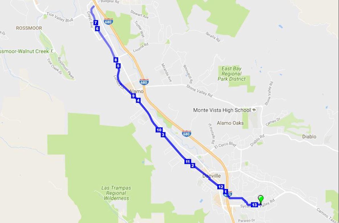 Danville Half Marathon MAPA DEL RECORRIDO DE