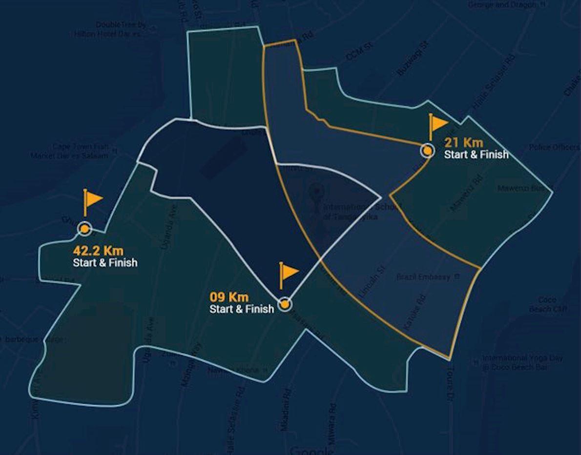 Dar Rotary Marathon Route Map