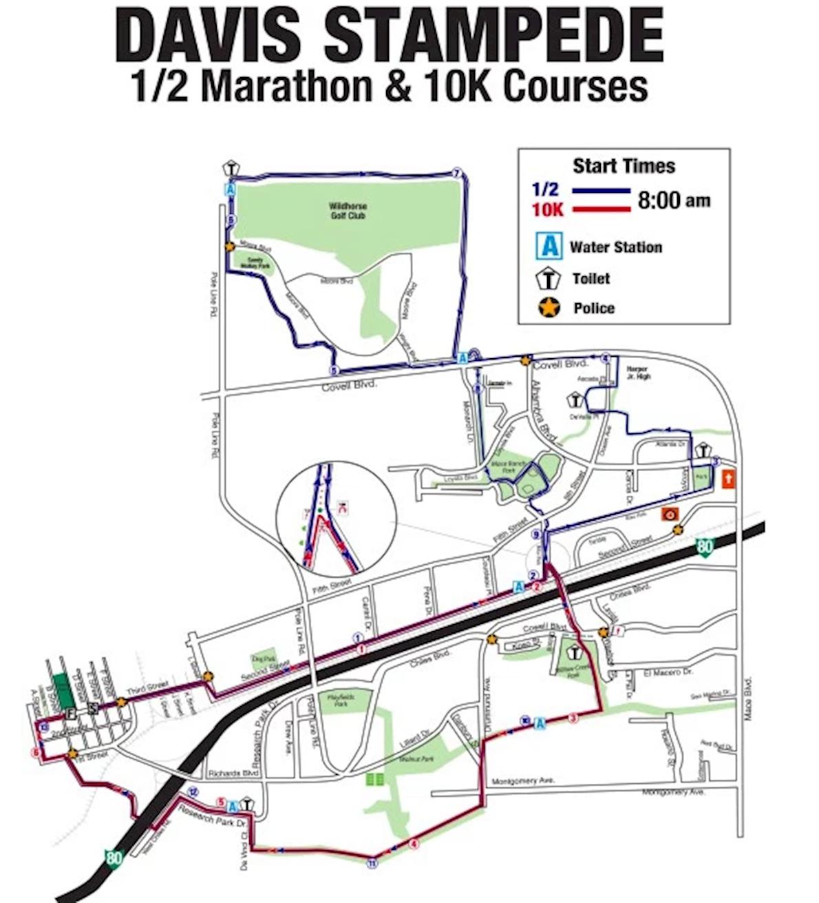 Davis Stampede Half Marathon Routenkarte