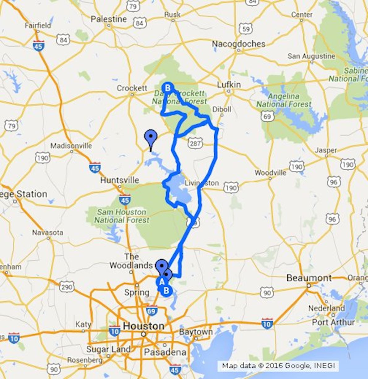 Davy Crockett Bear Chase Route Map
