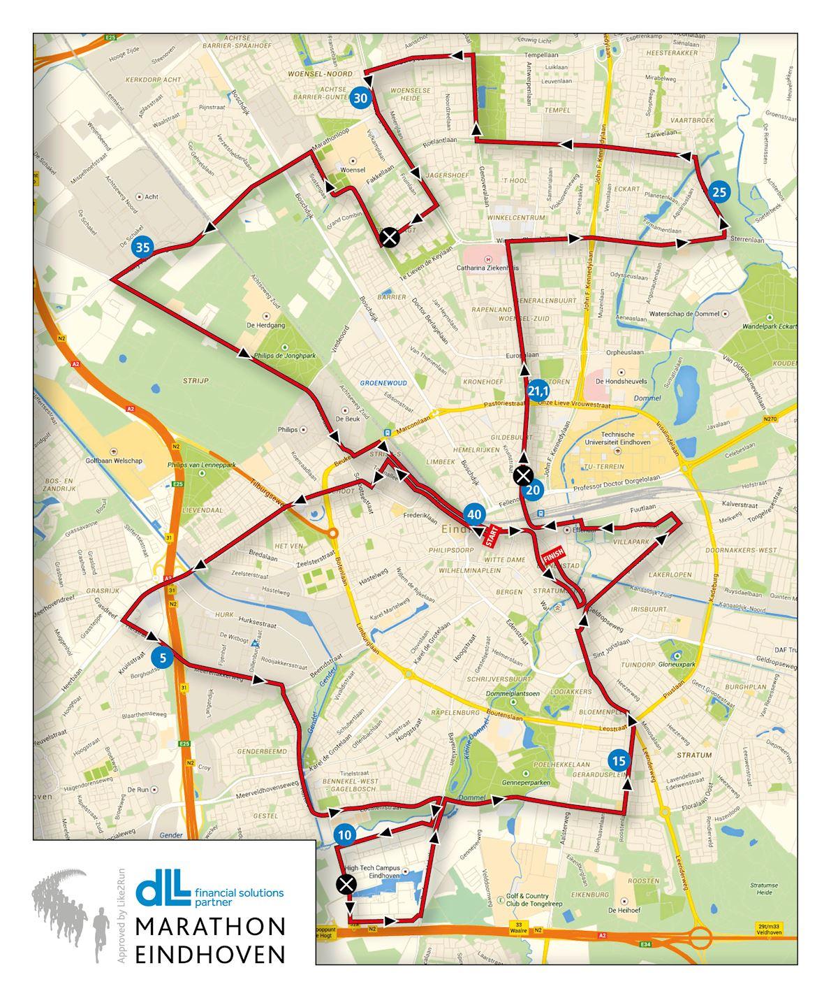 Marathon Eindhoven MAPA DEL RECORRIDO DE