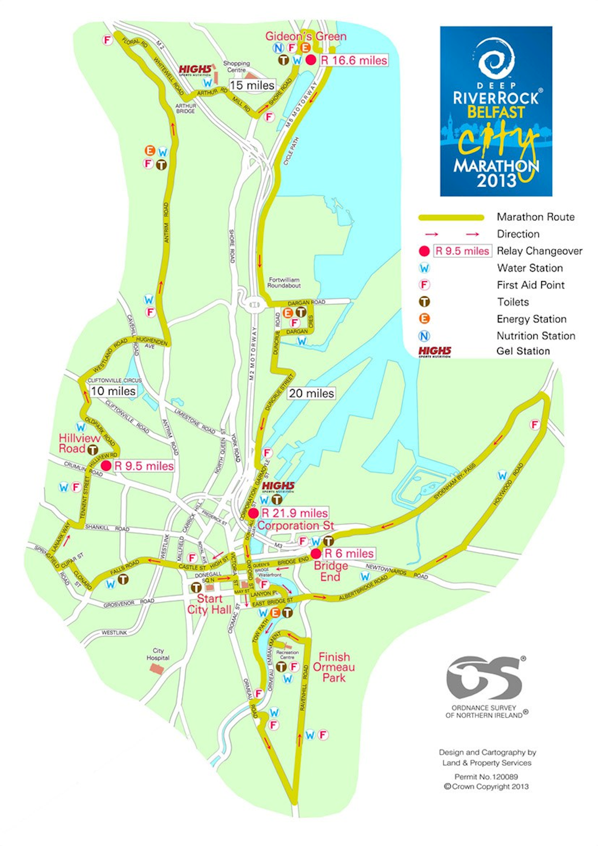 Deep RiverRock Belfast City Marathon 路线图