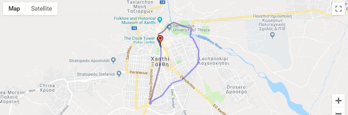 Democritus Half Marathon Xanthi Route Map