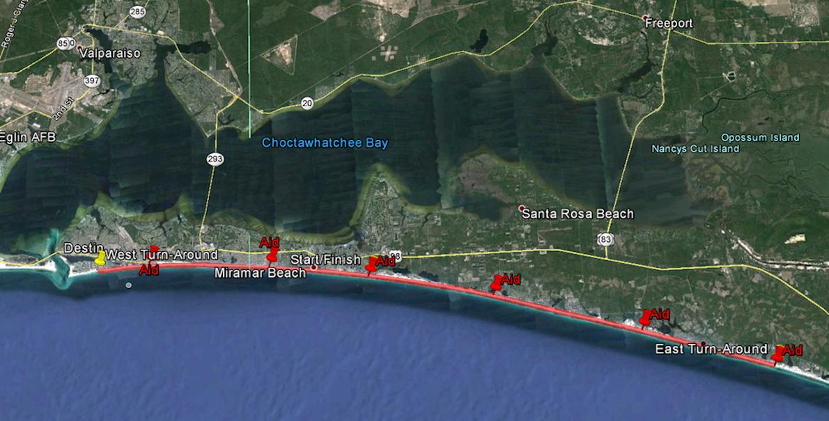 Destin Beach Ultra Runs Route Map