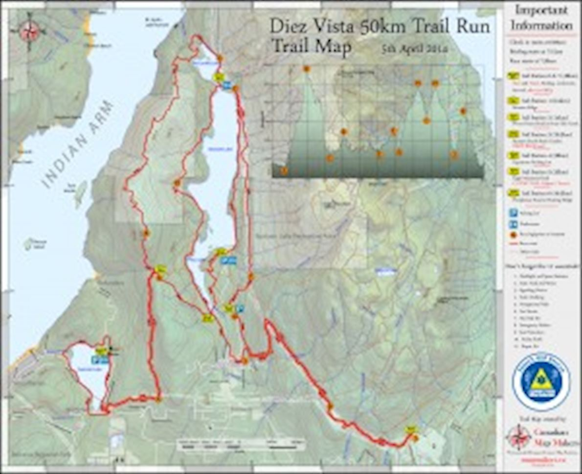 Diez Vista 50k Route Map