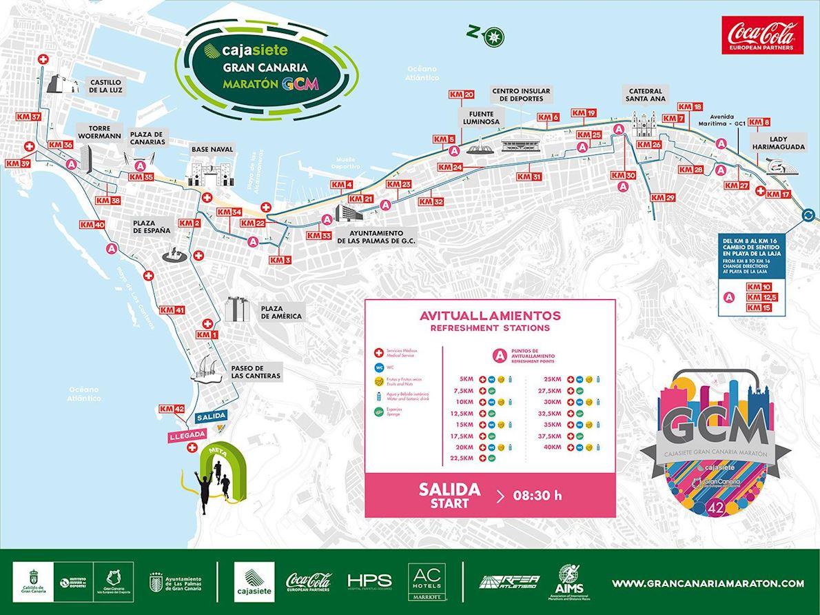CAJASIETE Gran Canaria Marathon Route Map