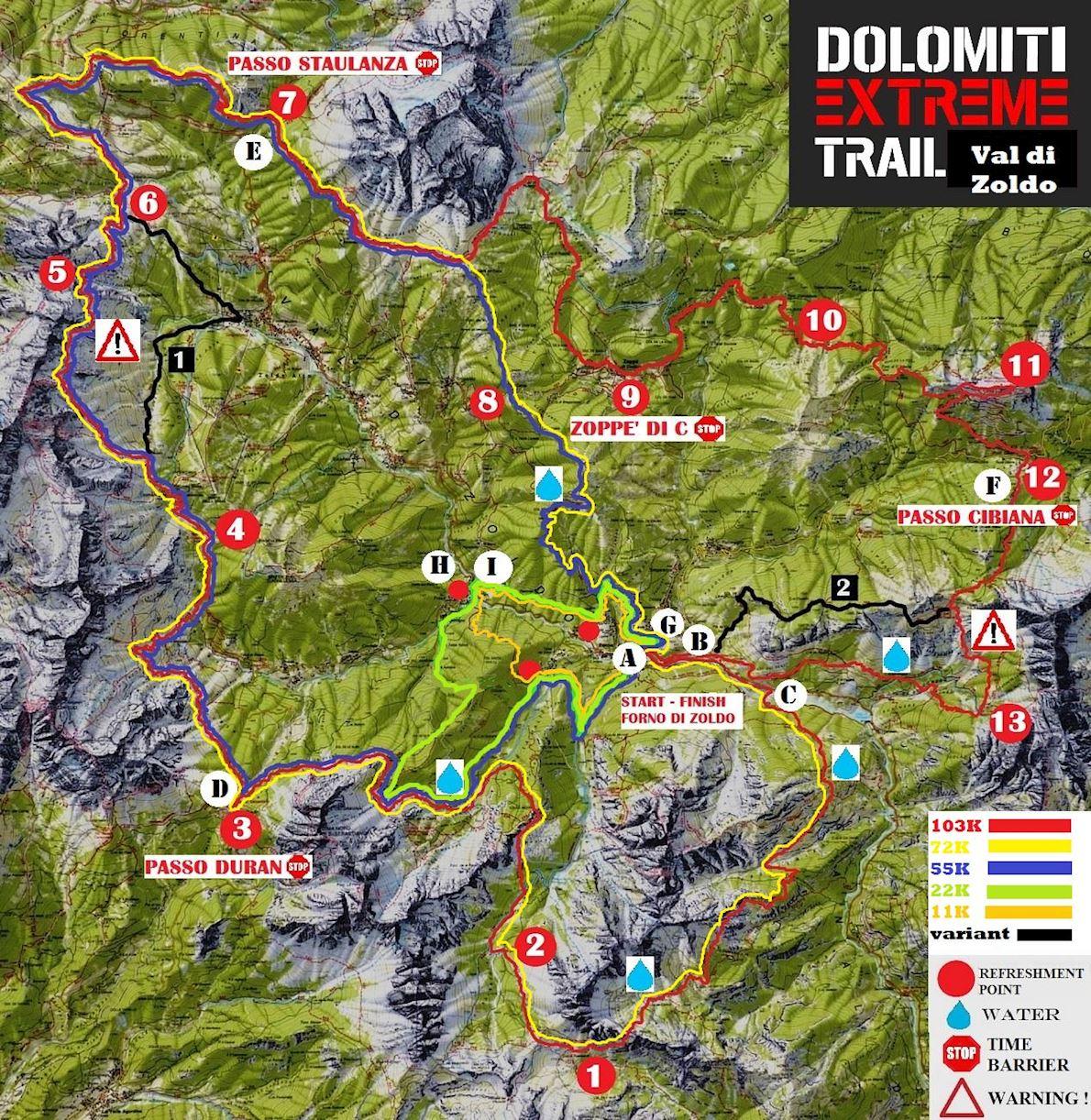 Dolomiti Extreme Trail Route Map
