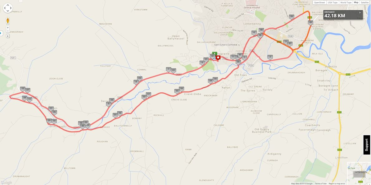 Donegal Half Marathon Routenkarte