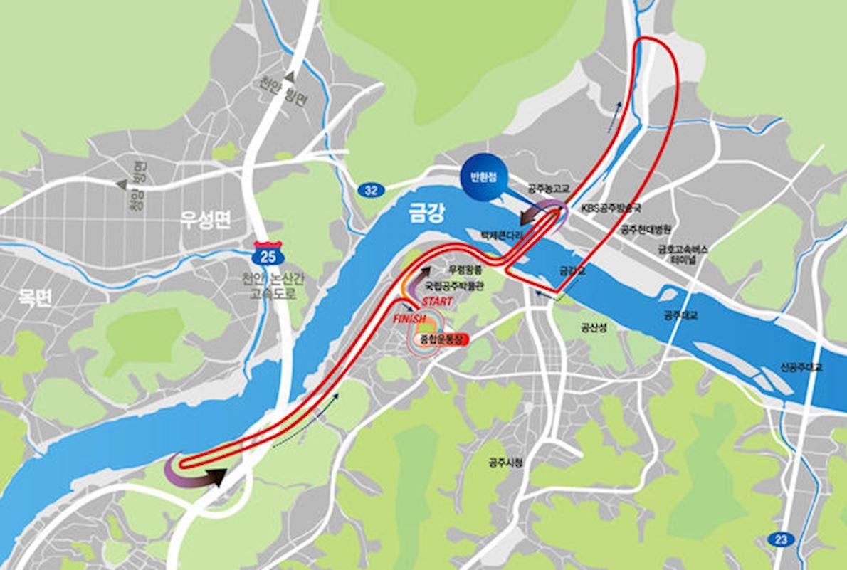 Dong-A Ilbo Gongju Baekje Marathon MAPA DEL RECORRIDO DE