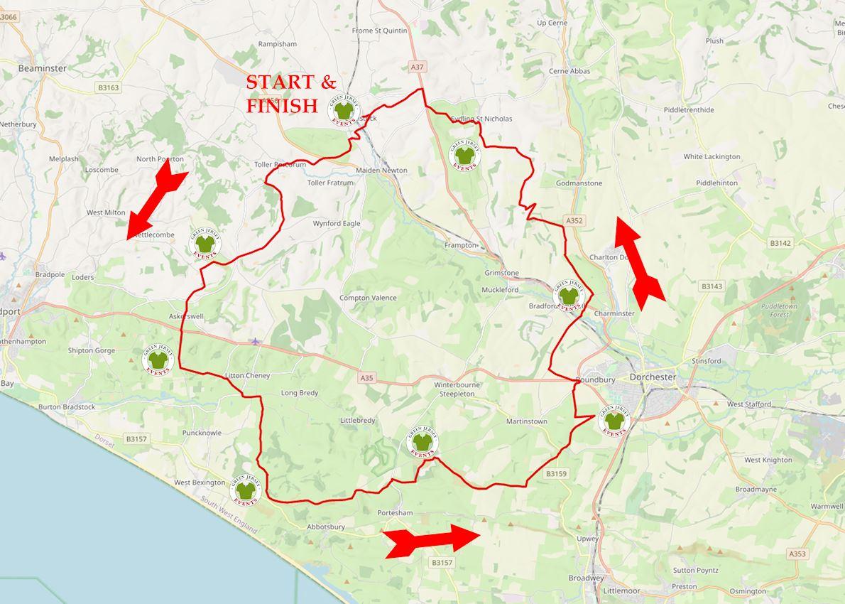 Dorset Hillfort Ultra Route Map