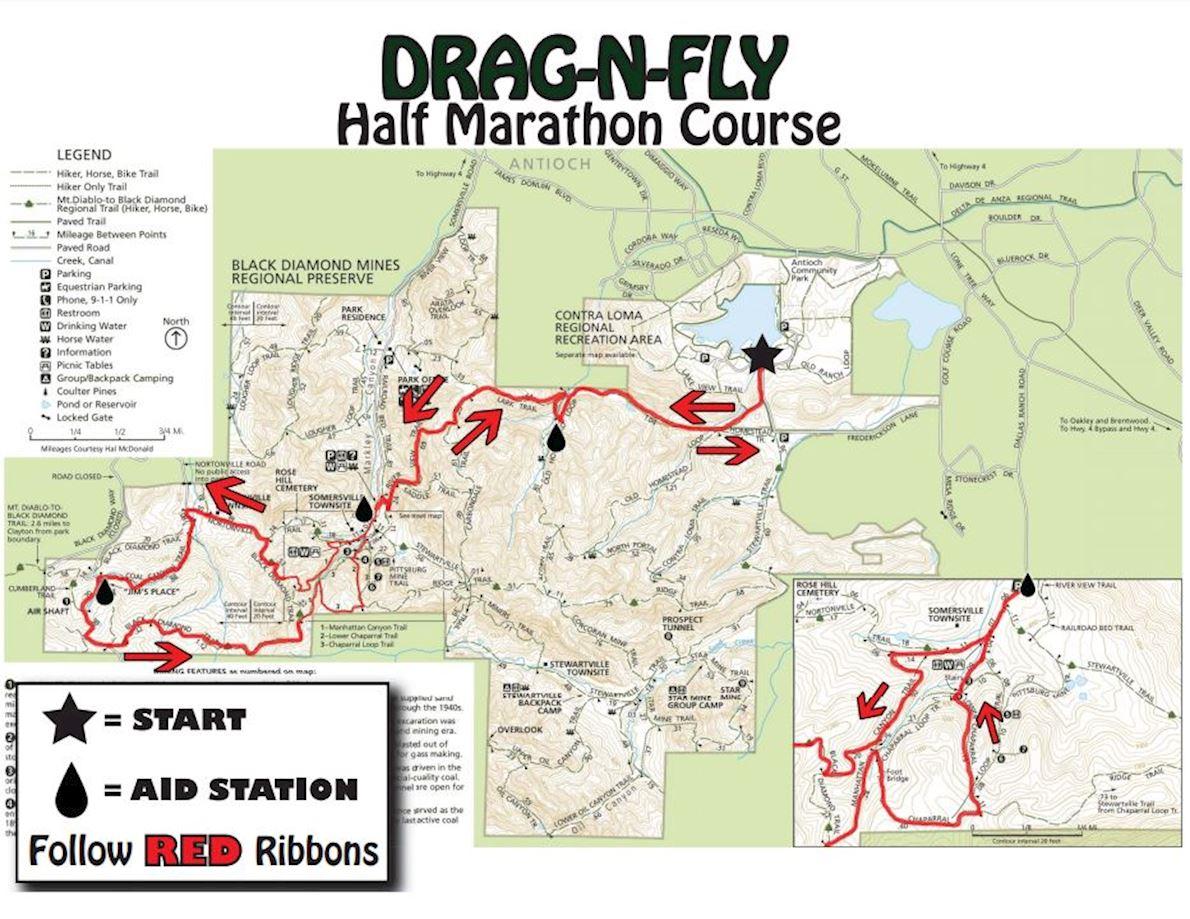 Drag-N-Fly Trail Half Marathon Routenkarte