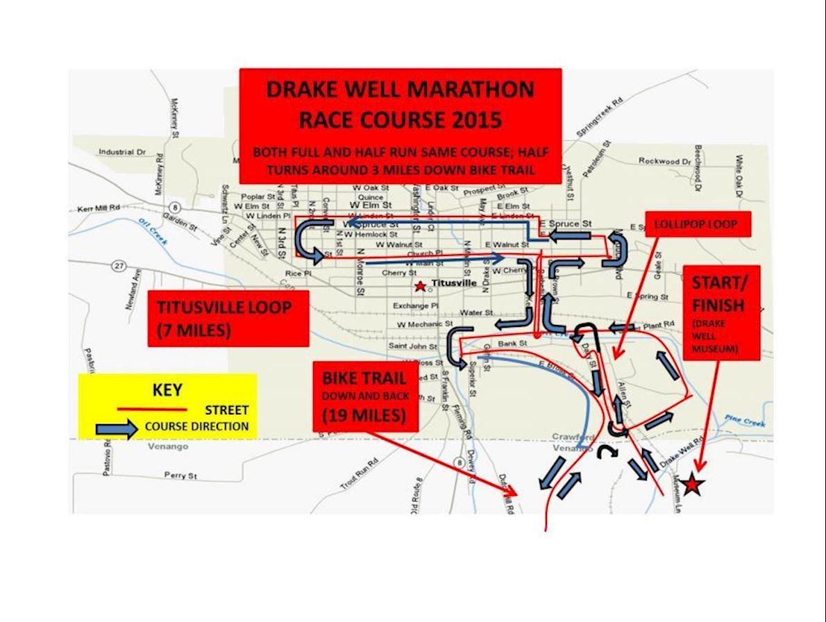 Drake Well Marathon & Half Mappa del percorso