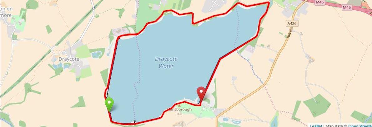 Draycote Water august Half Marathon Routenkarte