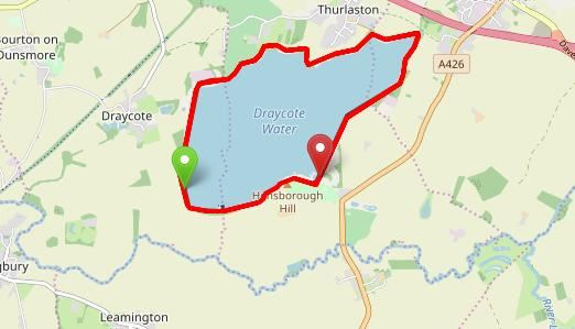 Draycote Water October Half Marathon Route Map