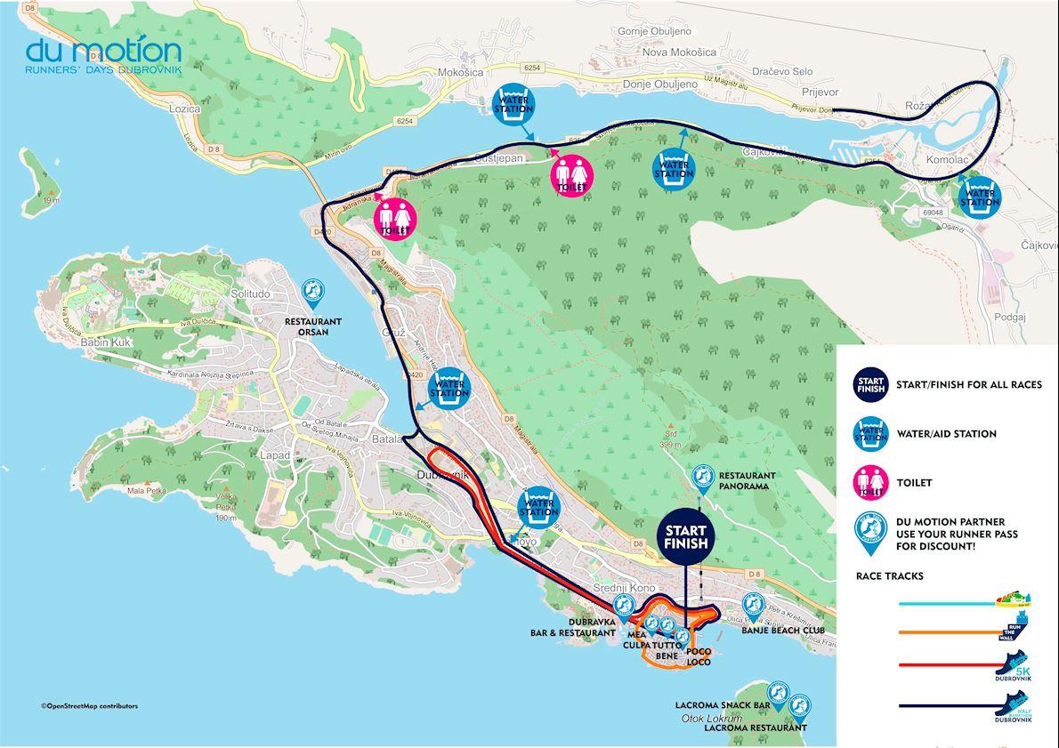 Dubrovnik Half Marathon & 2K Run The Wall Route Map