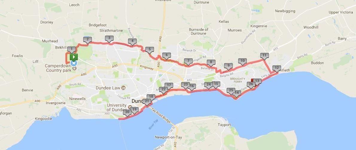 Dundee Running Adventure Marathon Route Map
