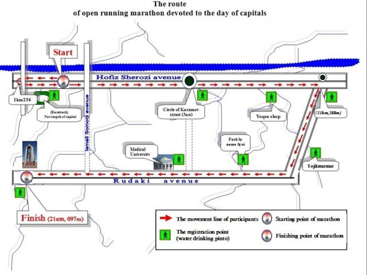 Dushanbe International Half Marathon Route Map