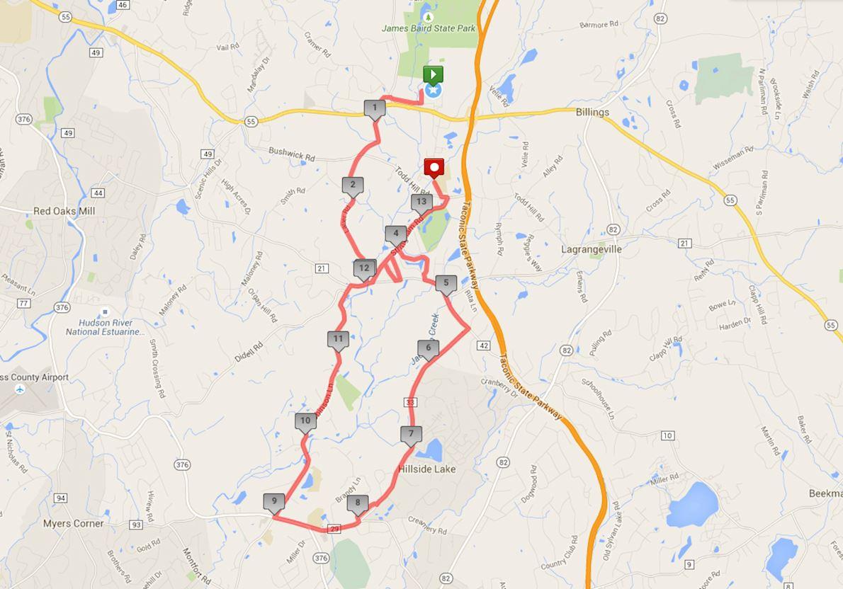 Dutchess County Classic Half Marathon Mappa del percorso