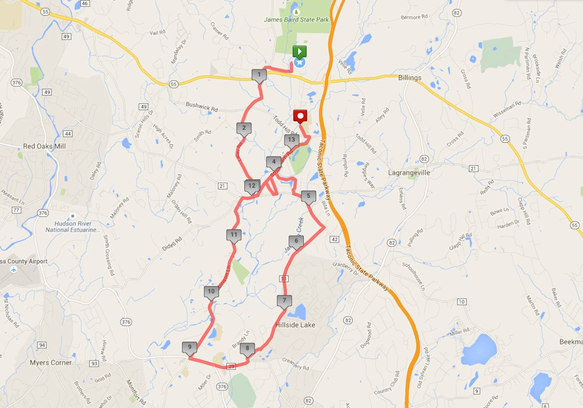 Dutchess County Classic Half Marathon Routenkarte