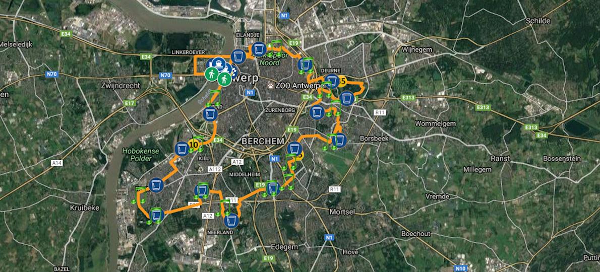 AG Antwerp 10 Miles & Marathon MAPA DEL RECORRIDO DE