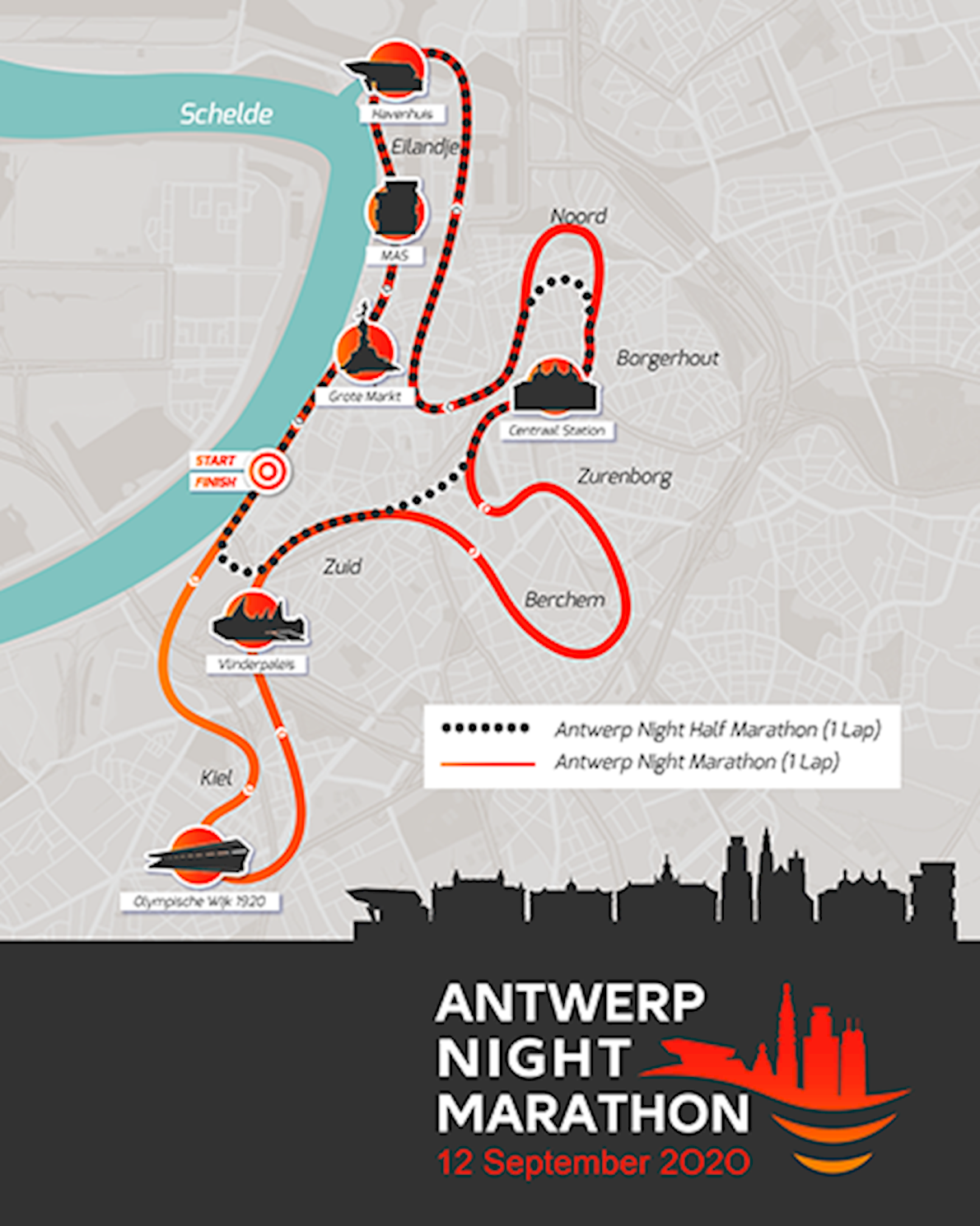 Antwerp 10 Miles &  Marathon Route Map