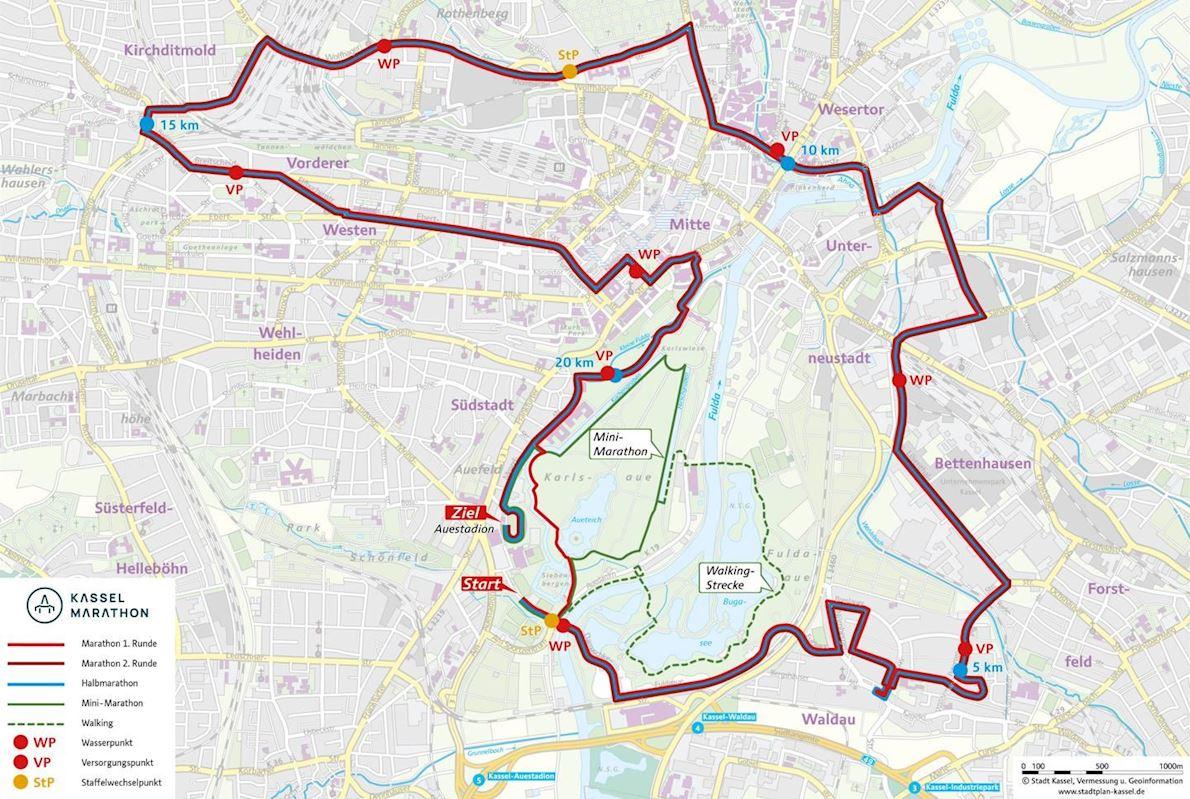 EAM Kassel Marathon Route Map