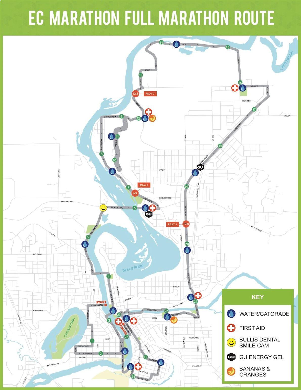 Eau Claire Marathon & Half Marathon 路线图