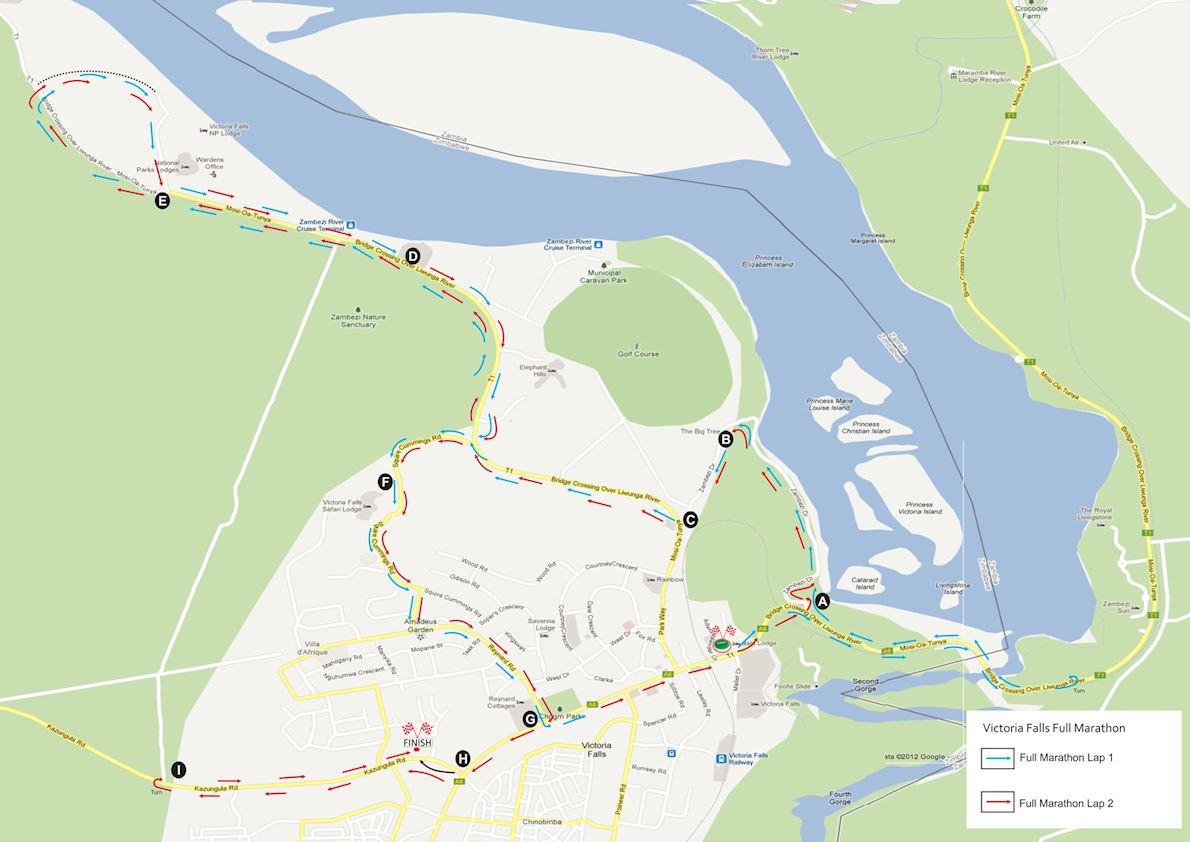 Econet Victoria Falls Marathon Routenkarte