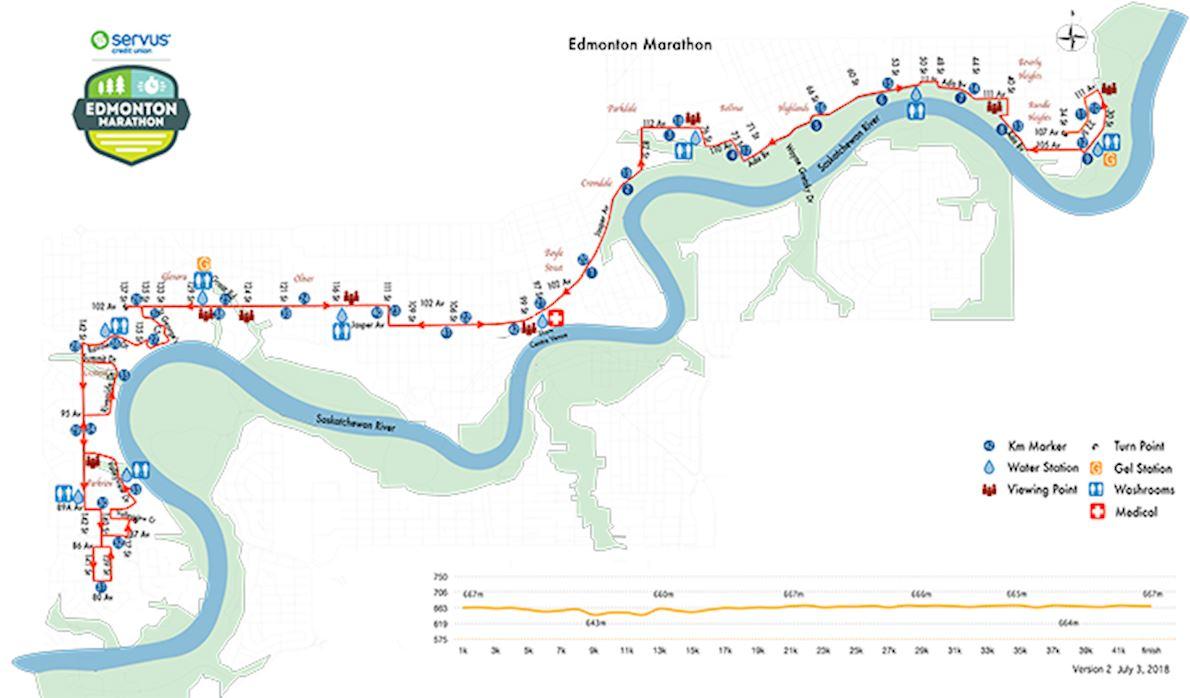 Edmonton Marathon MAPA DEL RECORRIDO DE