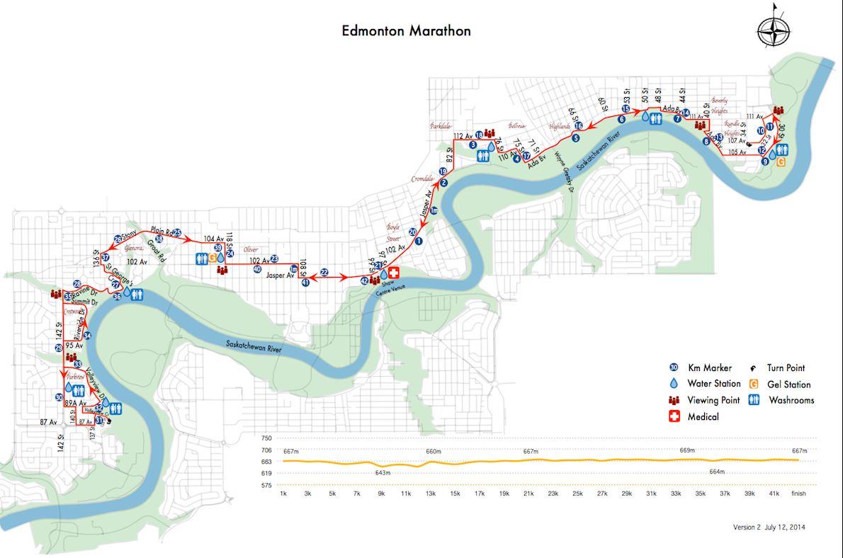 Servus Edmonton Marathon Routenkarte