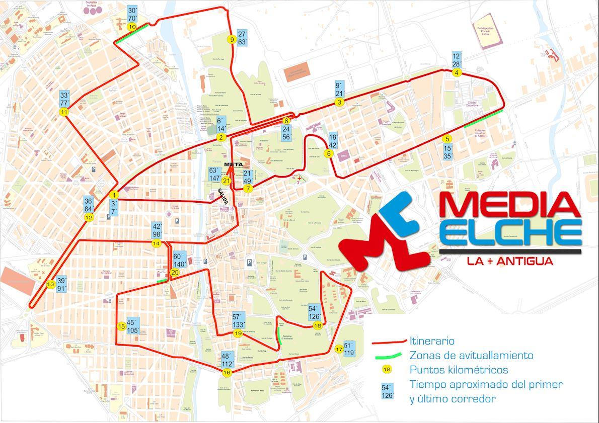 Elche Half Marathon - The Oldest of the World Route Map