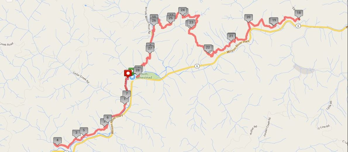 Elk-King's Trail Races Route Map
