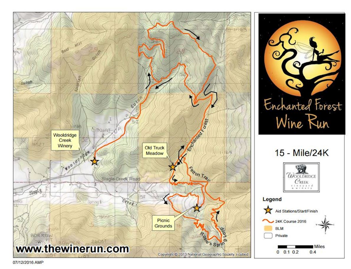 Enchanted Forest Wine Run Route Map