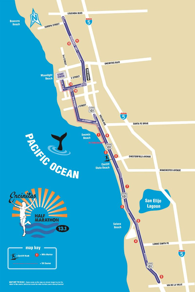 Encinitas Half Marathon Route Map