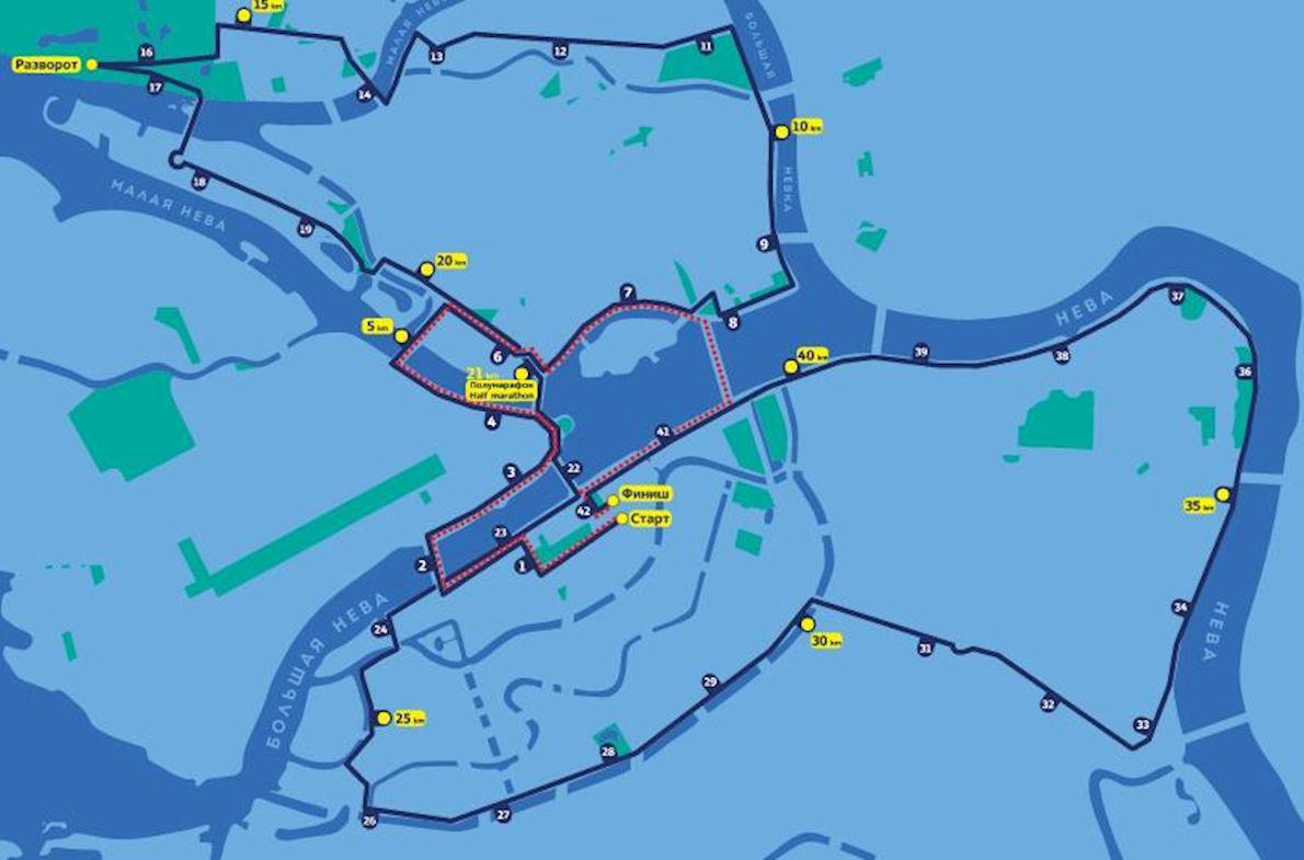 White Nights International Marathon Mappa del percorso
