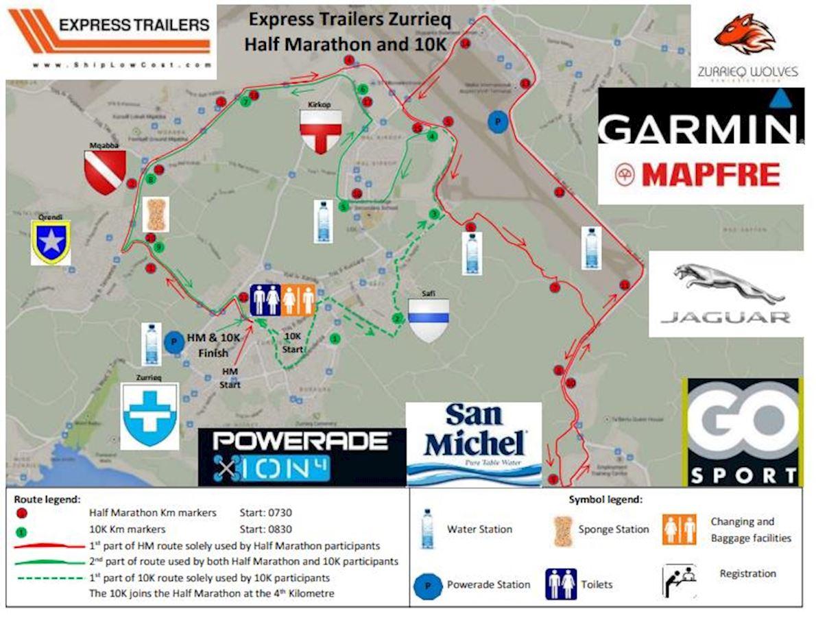 Express Trailers Zurrieq Half Marathon and 10k Route Map